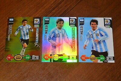 2010 Panini World Cup Adrenalyn XL: Lionel Messi 3 cards. Very Rare.