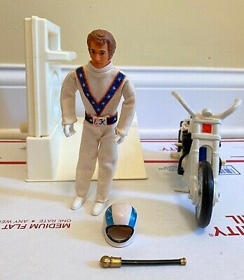 Evel Knievel Stunt Cycle White Energizer Action Figure Ideal 1974 Works