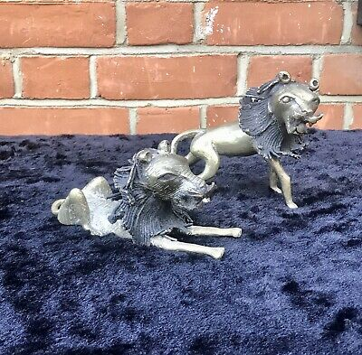 Unusual Pair Of African Bronze Lions From The Teke Tribe In Gabon