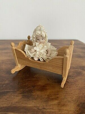 Miniature Bisque Baby Doll Wooden Rocking Cradle Dolls House