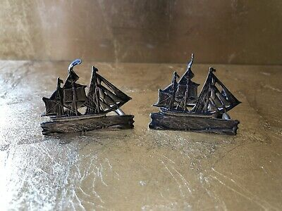 Solid Silver Ship Sails Menu Holders Hallmarked London 1898 Makers Initials S.C