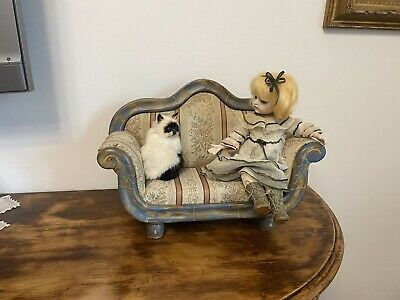 Vintage Miniature Hand Carved Painted Wood Doll House Forniture Sofa