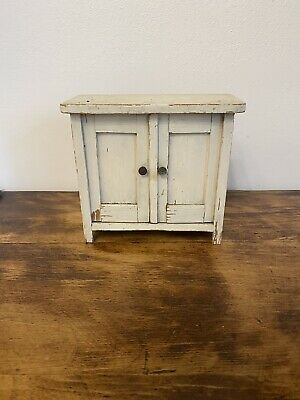 Antique Vintage Miniature Hand Made Wood Doll House Forniture Wardrobe