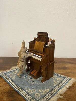 Vintage Miniature Hand Carved Wood Doll House Forniture Piano OOAK Artist