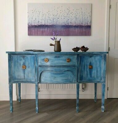Shabby Chic Vintage Sideboard 2 Drawers 2 Doors Cabinet - Rustic Blue