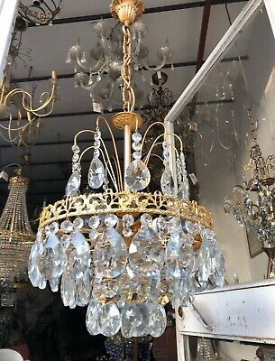 Antique Vnt French Bohemian Crystal & Casting Brass Chandelier Lamp Lustre 1940s