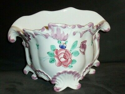 White Ceramic Hand Painted Floral Chelsea House Cachpot Planter Port Royal~Italy