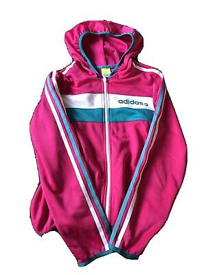 Girls Hot Pink Adidas Hooded Tracksuit Top Size S