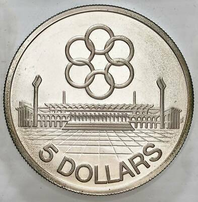 1973 SINGAPORE SILVER $5 DOLLARS, 7th SEAP GAMES, ORIGINAL CASE, RARE PROOF UNC