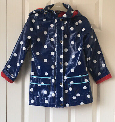Beautiful YUMI GIRLS Size 7-8 Years (122 cm)Blue Dot Print Rain Jacket Vgc!!!