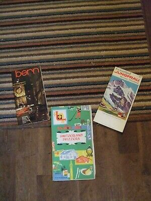 Collection of 3 vintage Maps of Switzerland, Bern& Jungfrau
