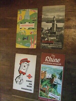 Collection of 4 vintage German Maps - Oberschwaen, The Rhine, Wohlbehagen,
