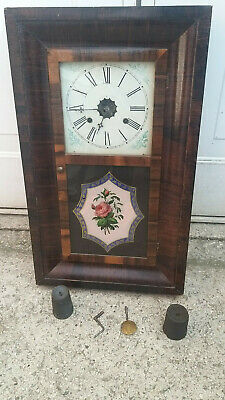 Antique Clock For Restoration With Weights And Pendulum - Does Work!!!