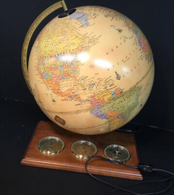 "Cram's Light Up ""Antique World"" Table Globe, Barometer, Thermometer, Hydrometer"
