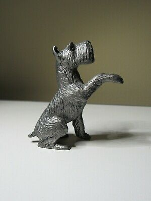 Unsigned Pewter Schnauzer Dog Highly Detailed Figurine Statue