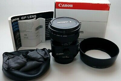 Boxed Canon TS 45mm F/2.8 TS-E Lens + EW-79BII lens hood and LP1216 leather case
