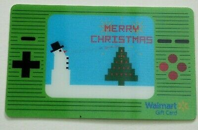 Walmart Gift Card Lenticular -Snowman Video Game-Style Christmas Tree - No Value