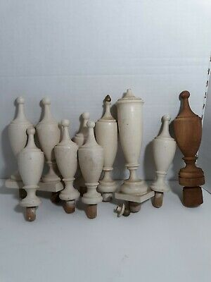 10 Vintage Wooden Finials With Pegs