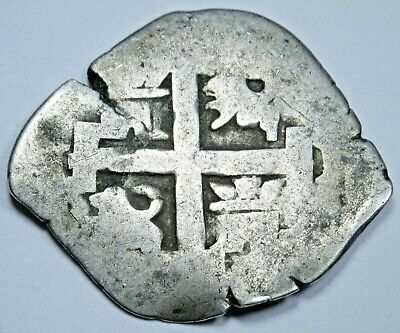 1736 Lima Peru Spanish Silver 1 Reales Antique Colonial 1700's Pirate Cob Coin