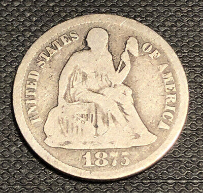 1875 CC SEATED LIBERTY DIME. Carson City. Uncertified.