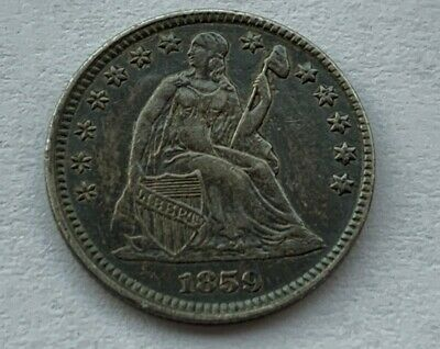 1859 Seated Liberty Half-Dime 90% Silver high grade About Uncirculated AU