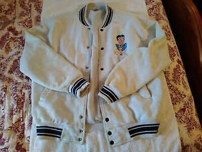 Too Cute Betty Boop blue & witsh gray baseball style jacket size XL birthday gif
