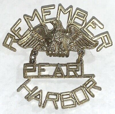 Vintage Remember Pearl Harbor Home Front Brooch Jewelry Pin