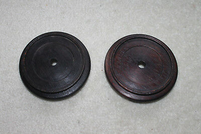 """Two Vintage/Antique Chinese carved wooden stands -5""""D x 1-1/2""""H"""