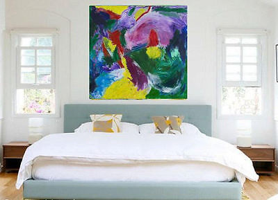 LARGE Colorful Abstract Art,Modern WALLdecor, Acrylic Painting on Canvas,INTENSE