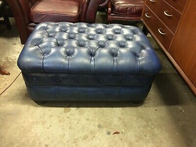 Gorgeous Chesterfield Vintage Hand Dyed Blue Leather Leather Ottoman / Stool
