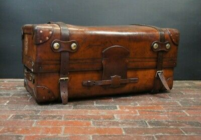 English Victorian Portmanteau Solid Leather Travelling Trunk