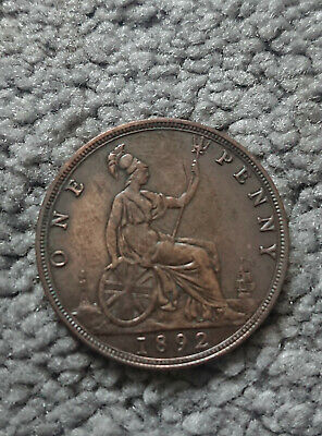 1892 - One Penny - 1d Coin - Queen Victoria - Great Britain
