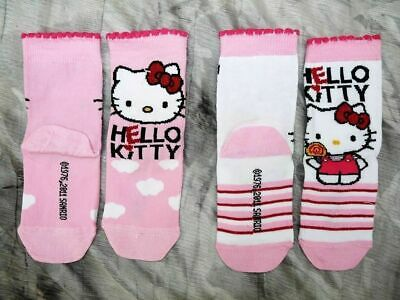 2 x  PAIRS GIRLS HELLO KITTY SOCKS PINK & WHITE COTTON SIZE 6-8.5 BNWT RRP £5.00