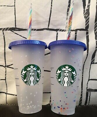 2x (TWO) Starbucks CONFETTI Color Changing Cold Cups 24oz Cup Rainbow Straw 2020