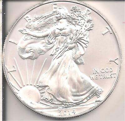 2014 BU American Eagle, One Troy Ounce Of Pure Silver Coin.
