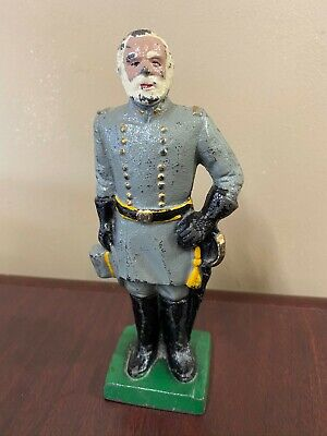 Robert E. Lee Cast Iron Figurine Paper Weight Statue Vintage Bookend Solider