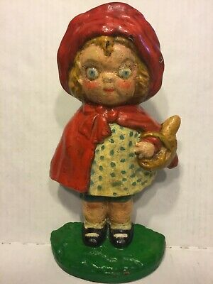 Antique Hubley Cast Iron Little Red Riding Hood Door Stop