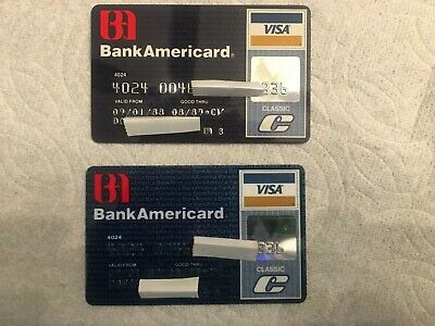 PAIR of Vintage Credit Card Bank Americard Bank Of America Exp. 1989 & 1988