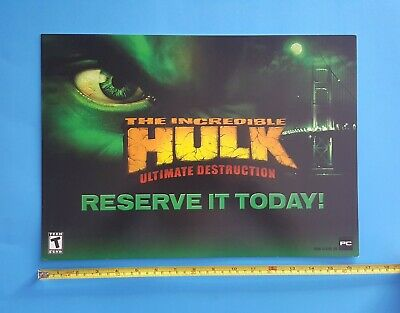 The Incredible HULK Video Game Store Display Sign 2005 Marvel Promo Advertising