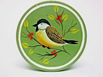 Vintage Wooden Trinket Gift Box Hand Painted Bird on Green Signed Price