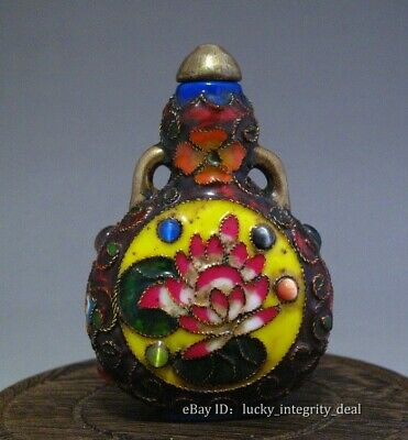 Old Chinese Cloisonne inlay Gem flower Porcelain Double-ears Snuff Bottle Mark