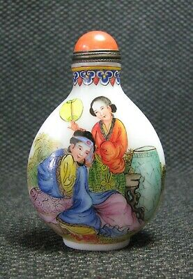 Chinese Glass Delicate Hand Painted Maid Snuff Bottle=------