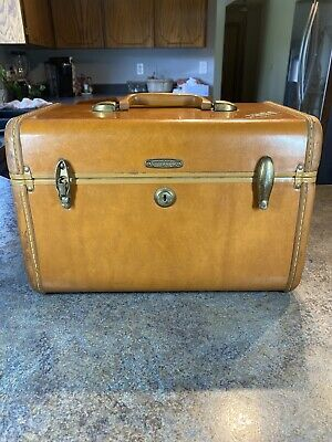 Vintage Shwayder Bros Samsonite Leather Train Case Luggage Make Up Case