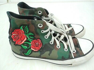 GIRLS CONVERSE ALL STAR Chuck Taylor trainers size 5 camouflage/roses design