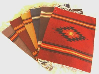 "Mats 100% Wool 10"" x 10""  Hand Woven Assorted Colors Peru Fair Trade Placemats"
