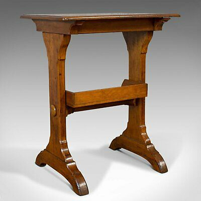 Antique Craft Table, English, Golden Oak, Side, Writing, Victorian, Circa 1880