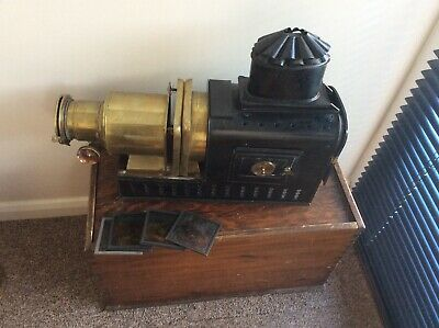 Vintage Magic Lantern Projector with Wooden Case and Slides