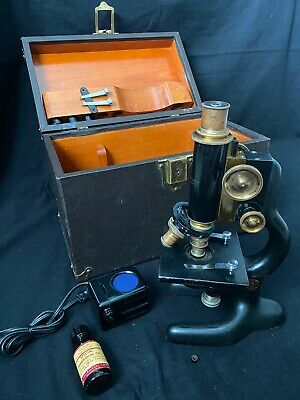 Antique 1915 Bausch & Lomb Doctor's Microscope, Wood/leather Case, Accessories