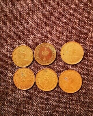 Joblot 6 X Uk Gb Decimal Old 1/2P Half Penny Pence Coins 1974 1976 1977 1979