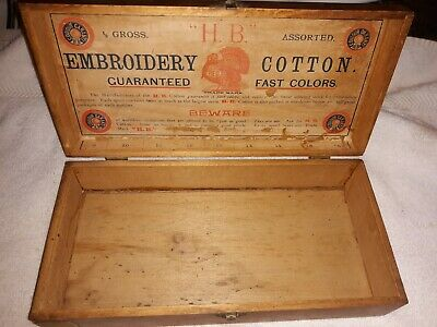 1900's Antique Collectible Embroidery Cotton Wooden Box H.B. Red Turkey